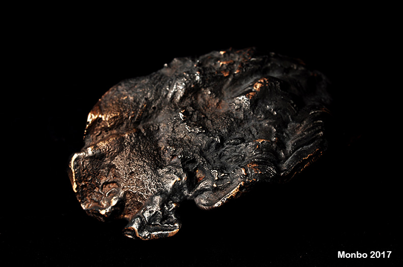 Oxyderet bronze - afstøbning af østersskal.